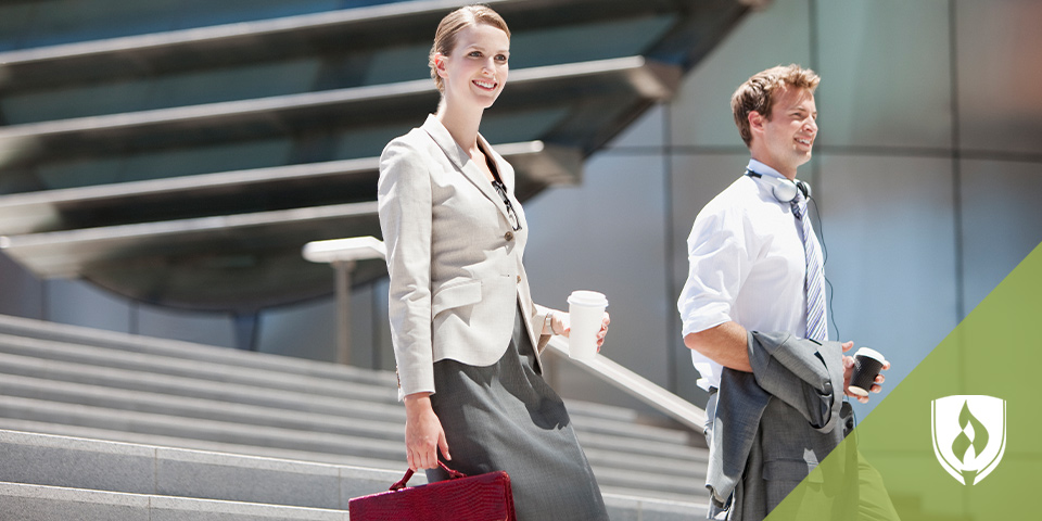 female and male dress in business attire