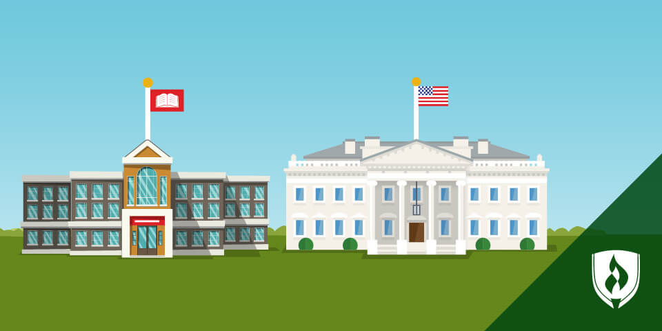 illustration of white house and college presidents building