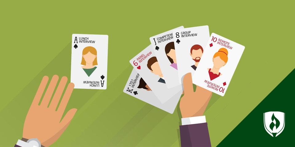 illustrated person playing cards of job interviews