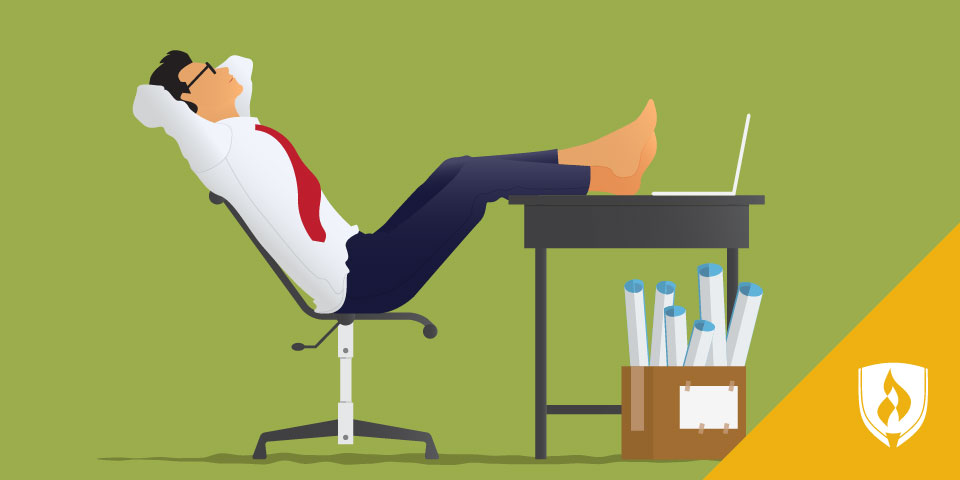 illustrated business man barefoot and feet up on desk