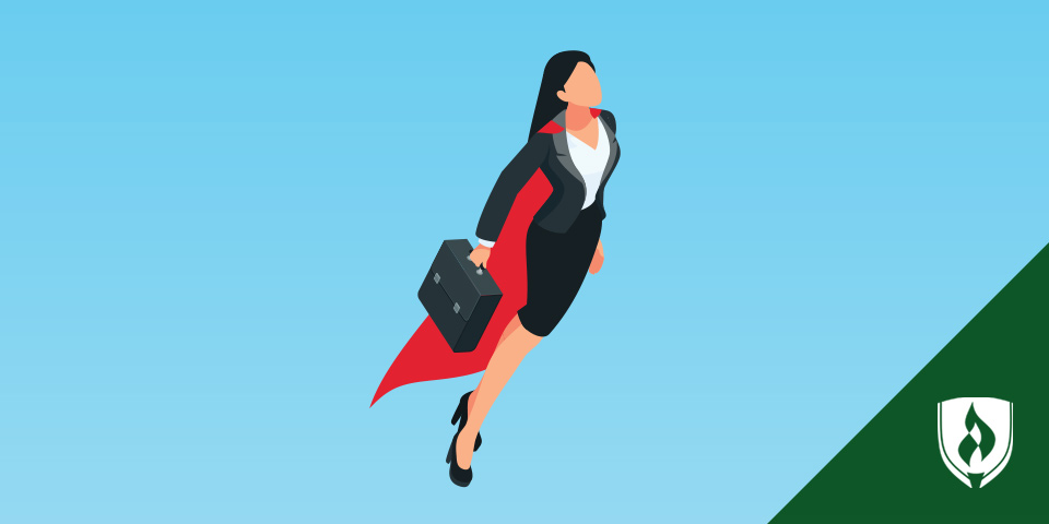 female wearing superhero cape and carrying a briefcase