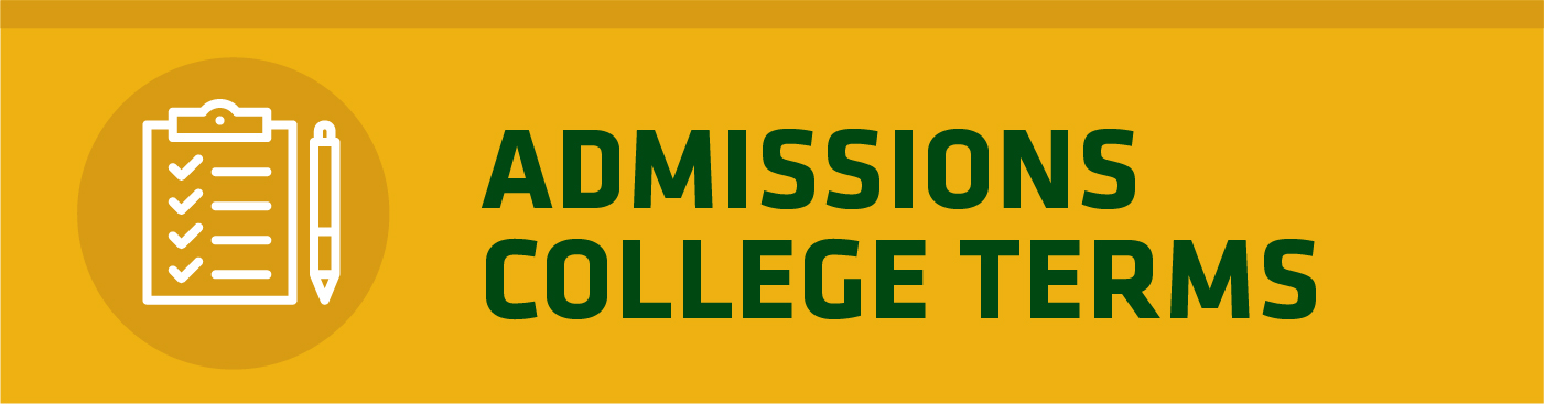 checklist icon next to admissions college terms headline