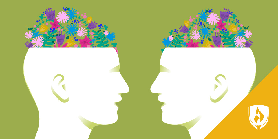 two illustrated heads with flowers blooming out of them