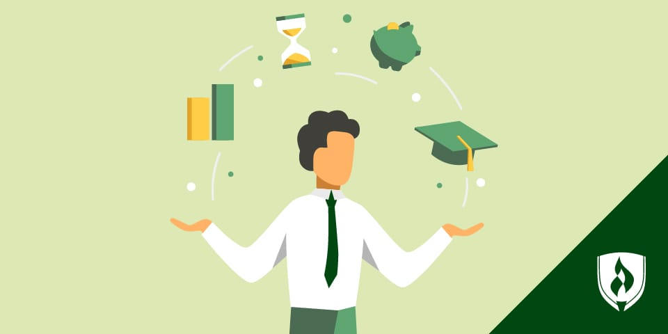 illustration of man juggling college related icons
