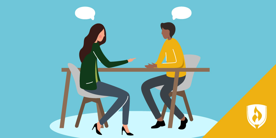 illustration of two people sitting at a table talking