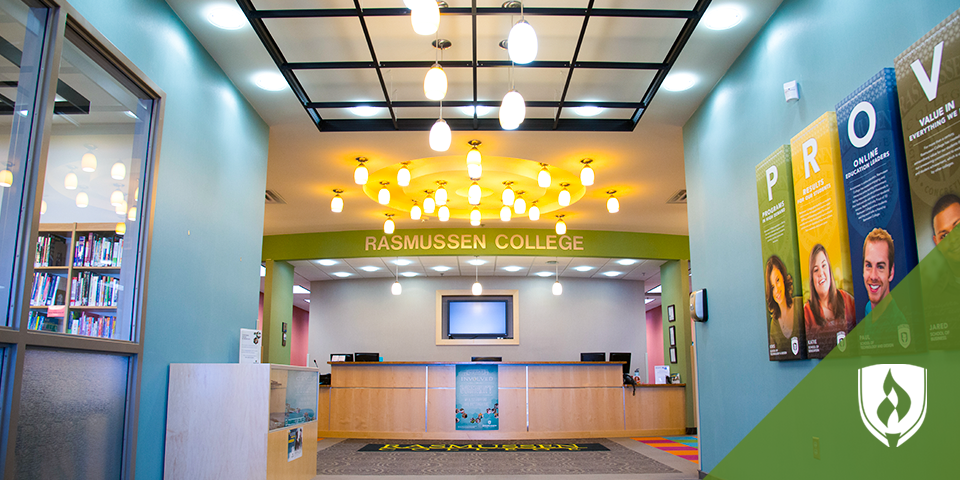 An interior view of the Rasmussen College - Lake Elmo campus entrance.