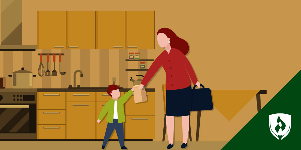 mom with briefcase handing bagged lunch to child