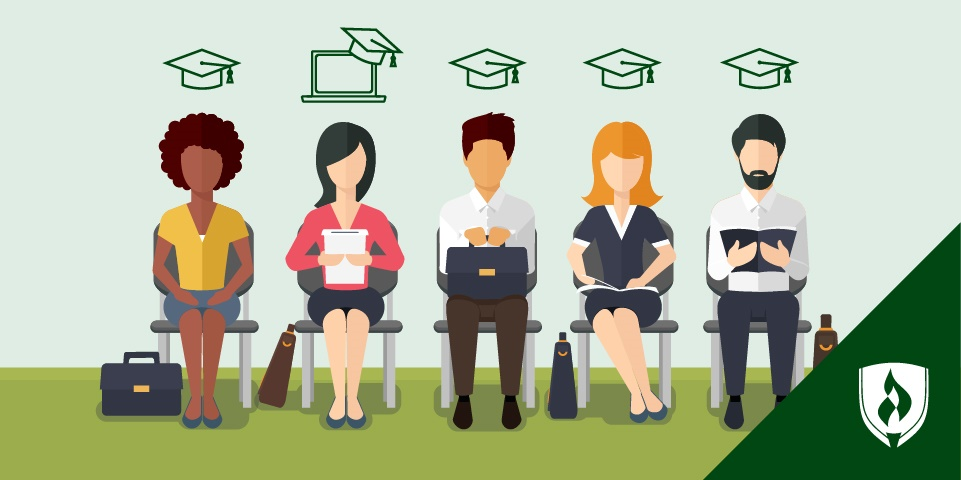 A line of job candidates outside an office with degree icons above their heads including an online degree icon