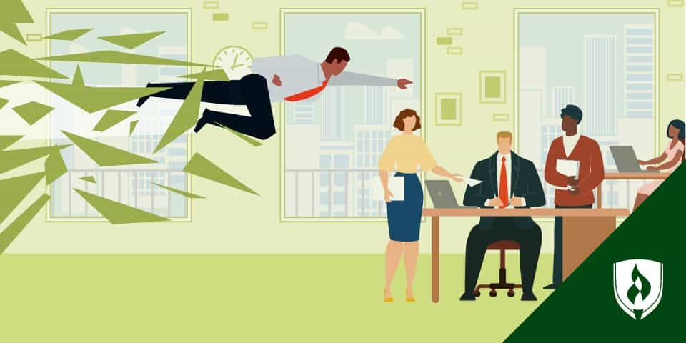 illustration of a job candidate bursting through the wall into an office like a superhero