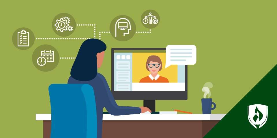 illustration of a female college student working at a computer with online learning education icons above the computer