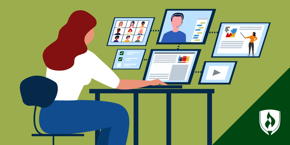 Illustrated woman working on online coursework at a computer