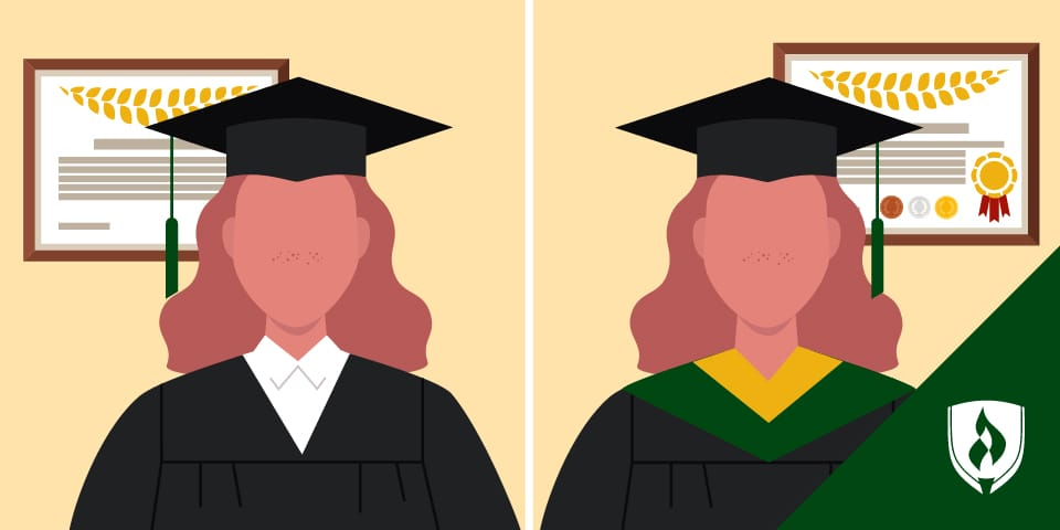 split screen of two graduates