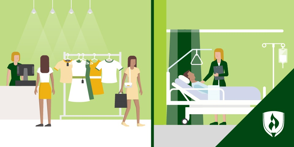 split illustration of a woman working in retial and the same woman working with a patient in the next panel