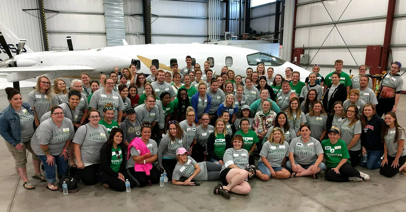 Green Bay campus faculty and student mock airplane crash