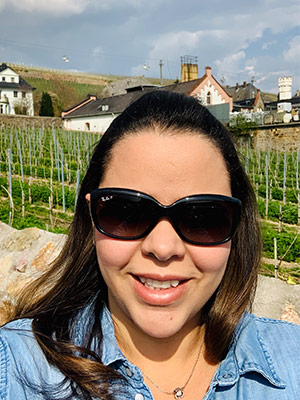 Mariana in Europe wearing sunglasses