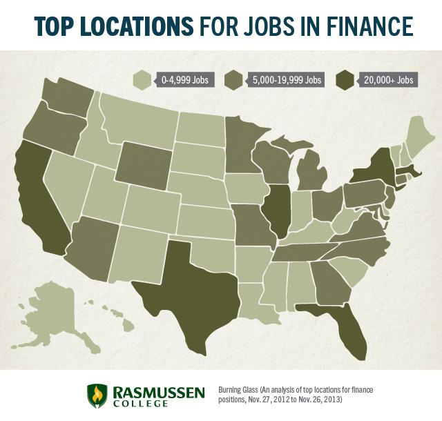 top locations for jobs in finance