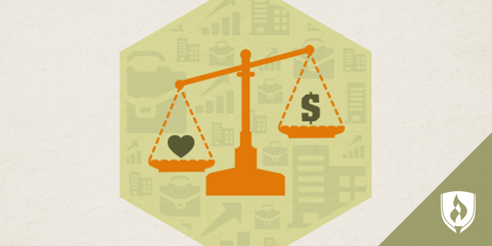 illustrated scale showing money and heart