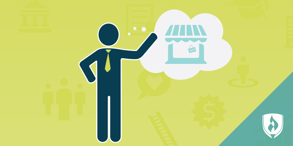 illustrated man with idea bubble of business store front