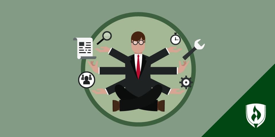 illustration of a manager with multiple hands juggling paper, clock, people