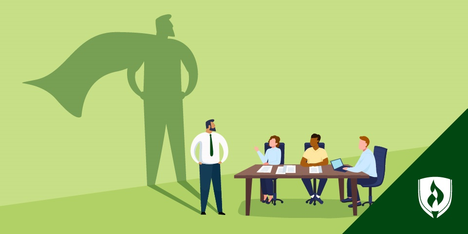 illustration business man in a cape running with briefcase