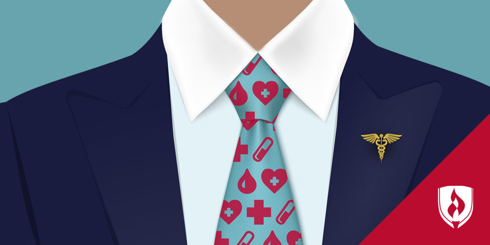 illustrated man with business suit and healthcare tie on