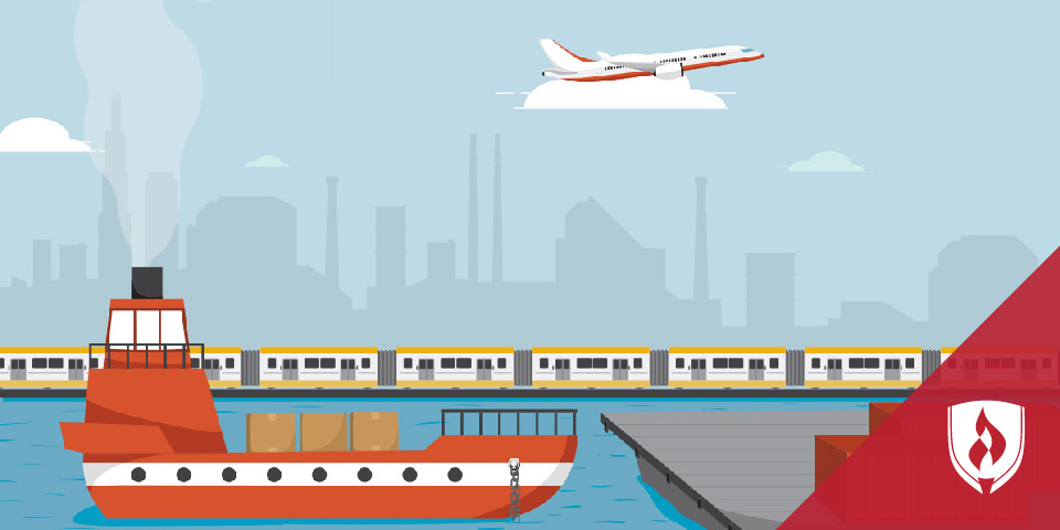 illustrated boat, train and airplane with cityscape in background
