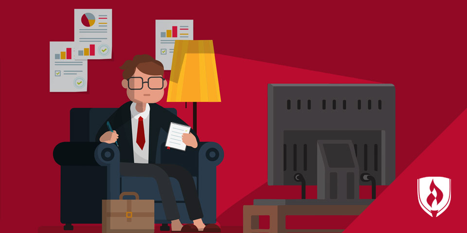illustrated business man sitting in front of TV