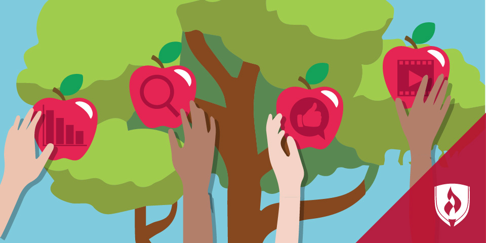 illustrated hands picking business apples
