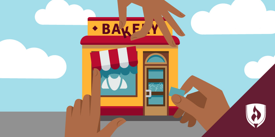 illustration of hands and bakery