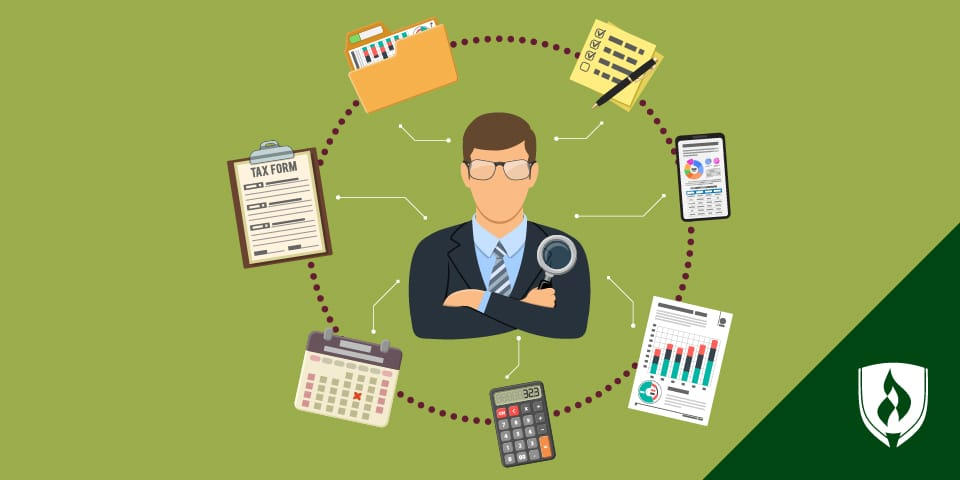 Illustration of a male accountant with with accounting-related items encircling him.