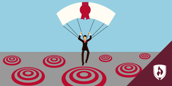 illustrated man parachuting with diploma