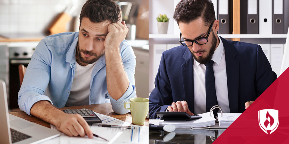 man struggling with taxes and another man doing taxes