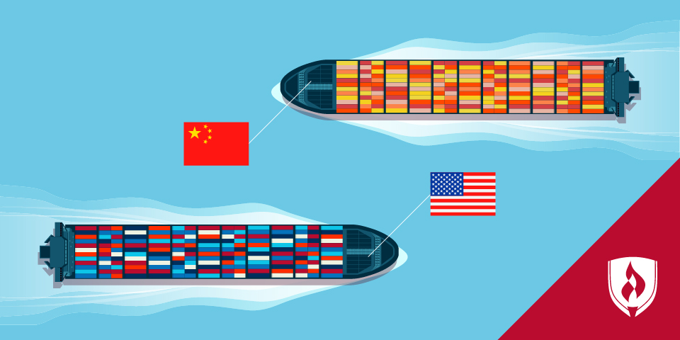 illustration of an american ship passing a chinese ship
