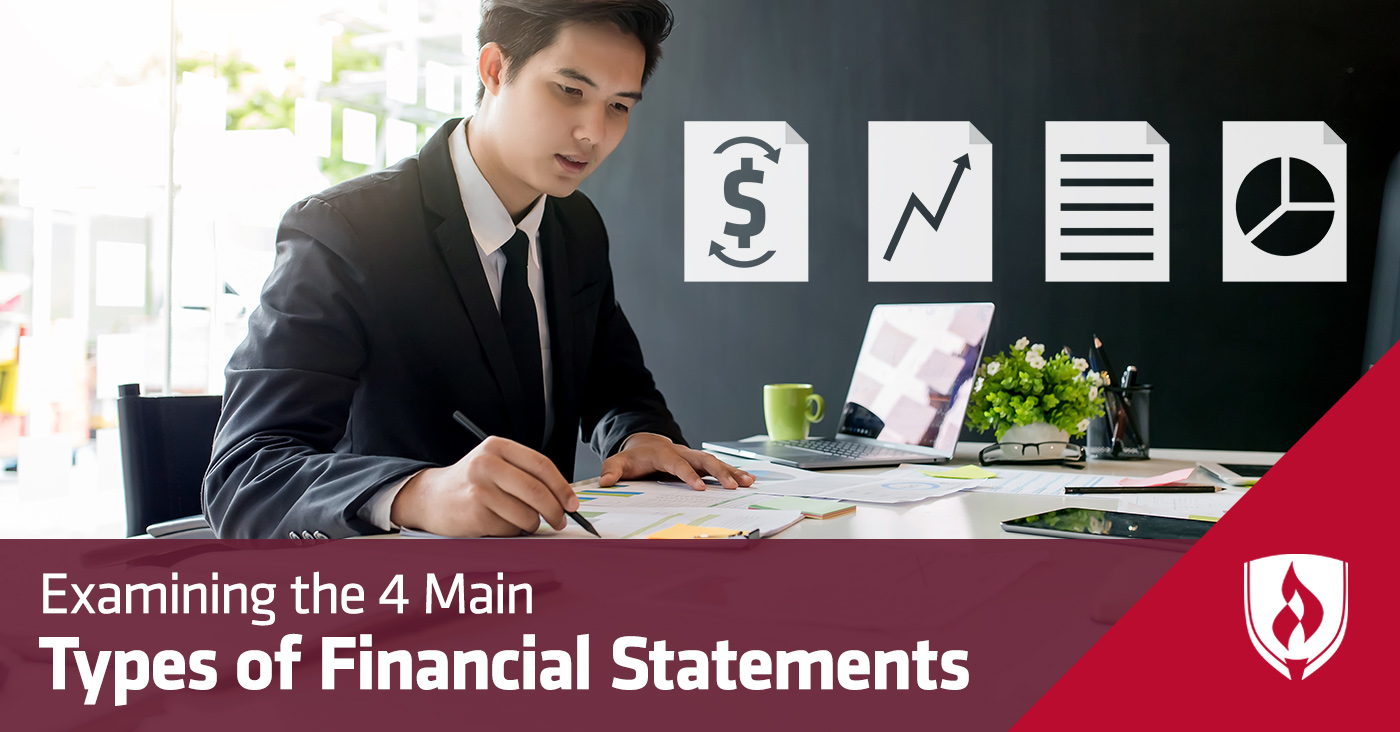man working at desk surrounded by finance icons