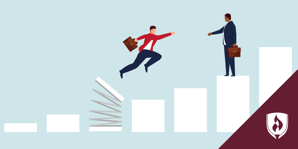 illustration of man jumping higher on a bar chart