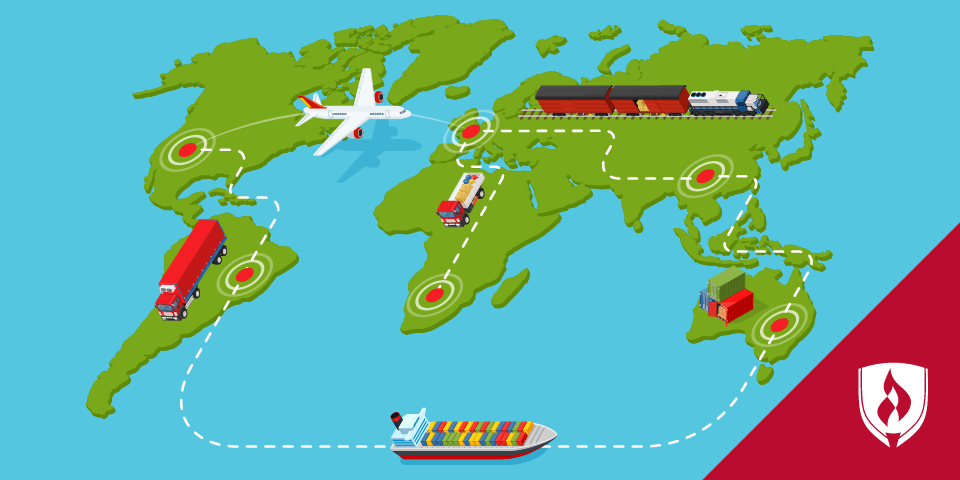 shipping vehicles on a world map