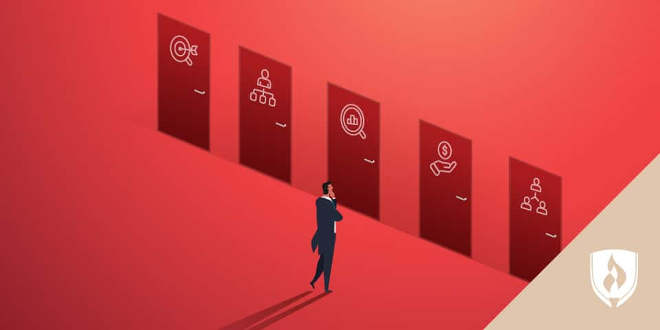 man standing in front of five doors with business icons on them