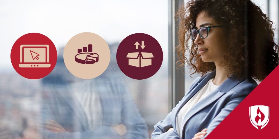 business woman looking out a window with three illustrated icons representing business specializations