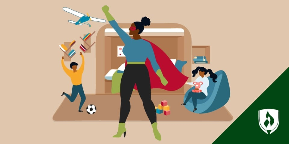 illustration of a mom in business casual clothes with a cape and kids playing in the background