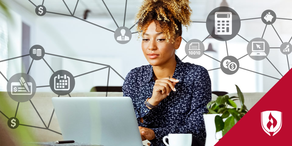 woman on laptop surrounded by accounting related icons