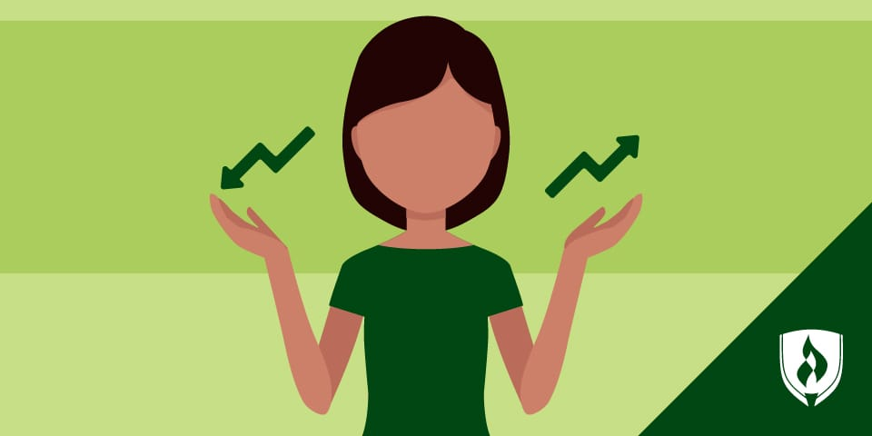 woman shrugging with upward and downward graph lines on either hand