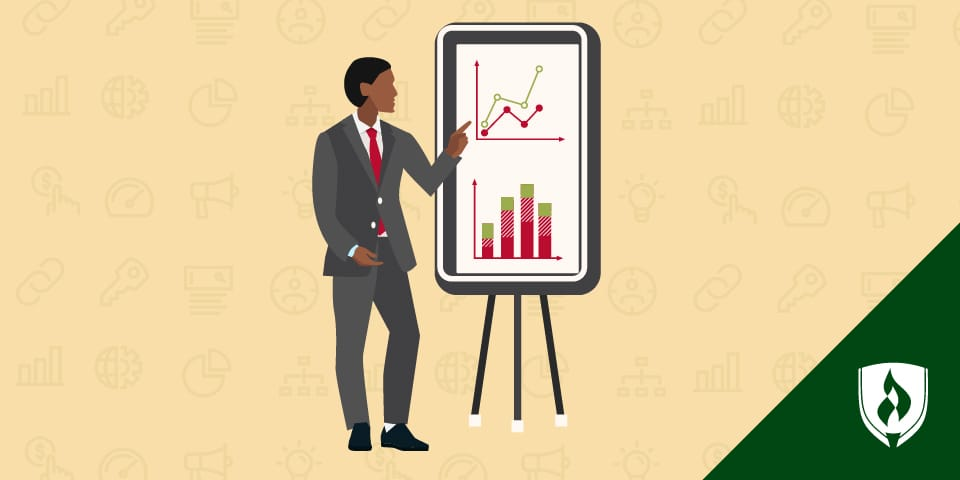 business man pointing at data presentation