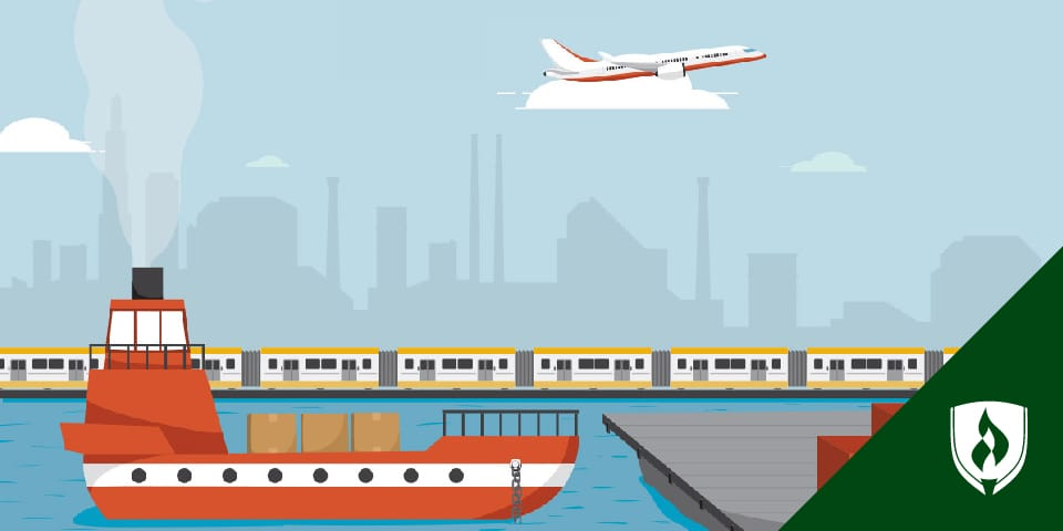 Image displaying trains, freight ships and cargo planes.