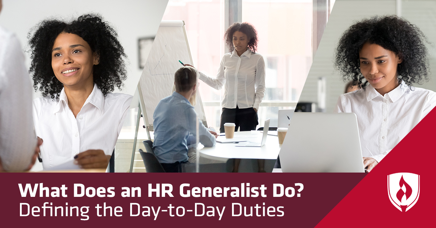 split screen showing three scenes of hr generalist job duties