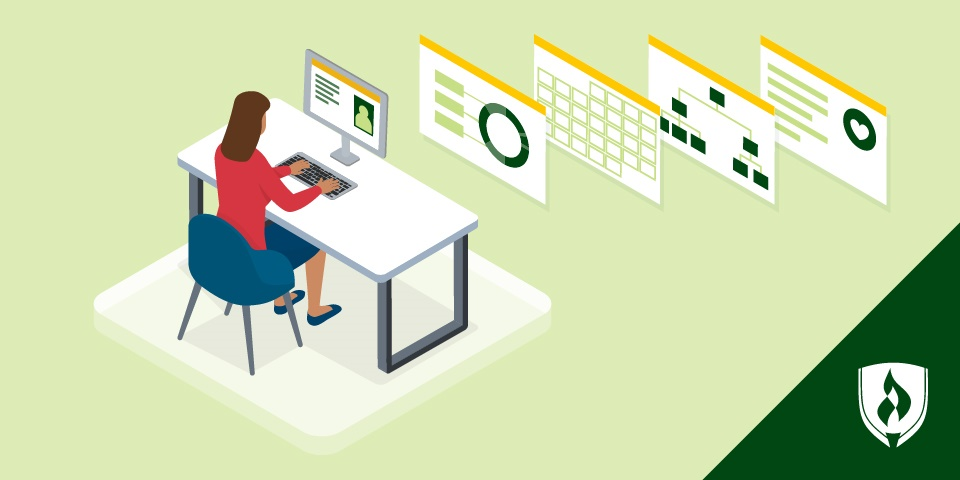 illustration of an hr professional working hris on her computer