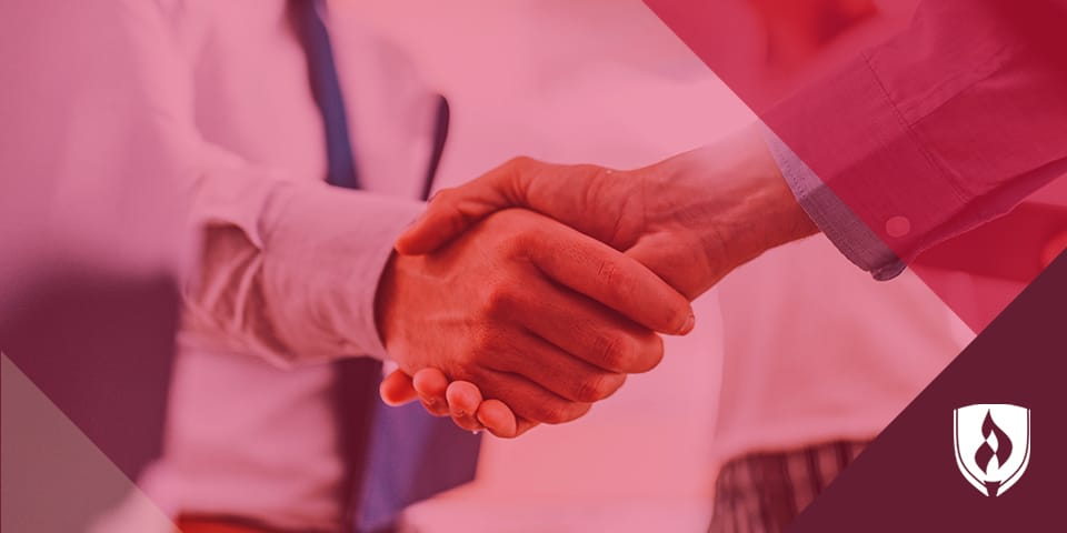 handshake with red overlay