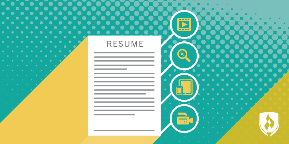 resume with icons representing skills