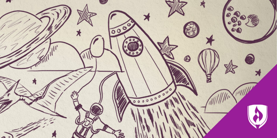 illustration of rocket traveling through the space with planets and stars