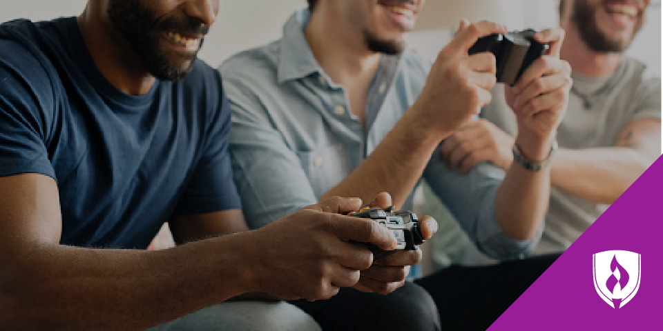 group of guys playing video games