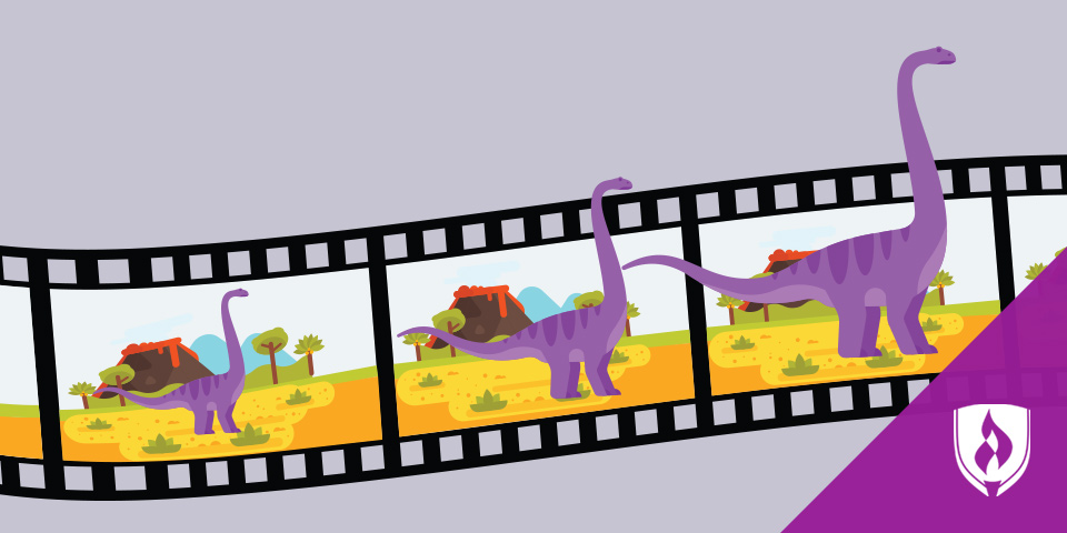 film strip with purple dinosaur